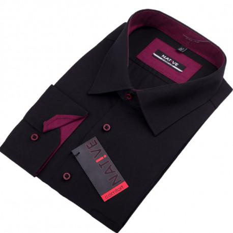 8ccfc2d48c4b Nadmerná čierna košeľa pánska dlhý rukáv rovný strih Native 120501