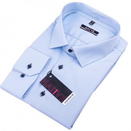1348ea85e900 Nadmerná modrá košeľa pánska dlhý rukáv rovný strih Native 120503