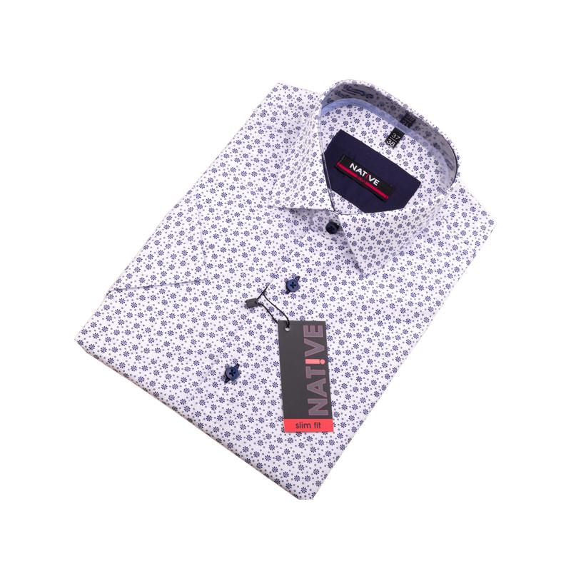 950604821253 Biela pánska košeľa s krátkym rukávom Native 120304