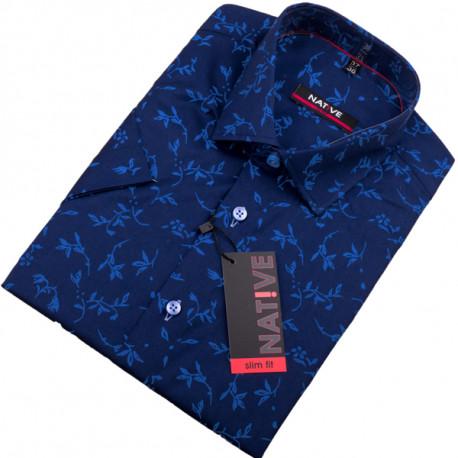 c48d57414eb1 Modrá pánska košeľa s krátkym rukávom Native 120305