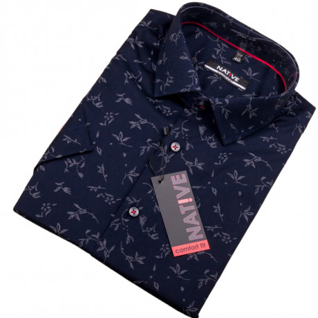f2f369bd143d Modrá pánska košeľa s krátkym rukávom Native 120307