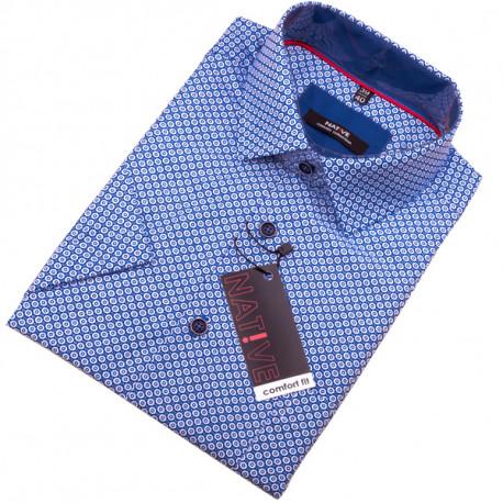 Modrá pánska košeľa s krátkym rukávom Native 120309