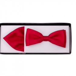 Červený motýlik s vreckovkou Assante 90217
