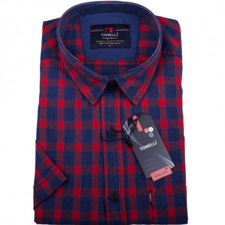 Červená košele 100% bavlna krátky rukáv Tonelli 110806