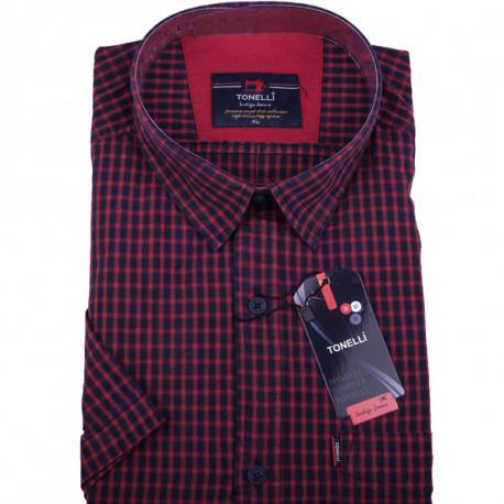a1826e8a46c1 Červená pánska košeľa krátky rukáv Tonelli 110807