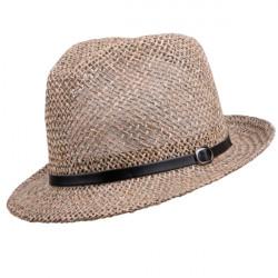 Béžový malý pánsky slamený klobúk Assante 80002