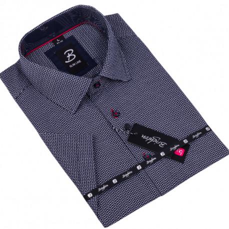 Tmavomodrá pánska košeľa krátky rukáv vypasovaný strih Brighton 109820