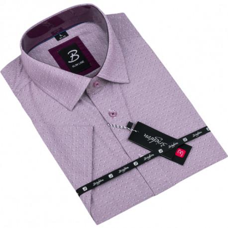 Fialová pánska košeľa krátky rukáv vypasovaný strih Brighton 109821