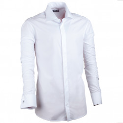 Extra predĺžená biela košeľa na manžetový gombík 20026