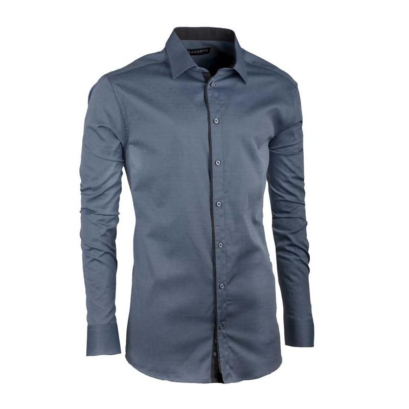 1fe40f2fd Prodloužená pánská košile ocelově modrá slim Assante 20401 ...