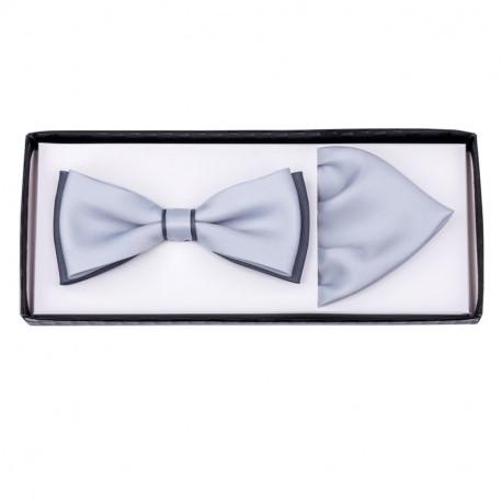 Sivo sivý svadobné motýlik s vreckovkou Assante 90288