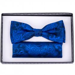 676a0b30fb1a Modro modrý pánsky motýlik s vreckovkou Assante 90263