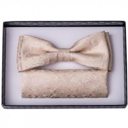 Béžový svadobný motýlik s vreckovkou Assante 90237