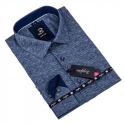 Sivá s tyrkys pánska košeľa slim fit Brighton 109905