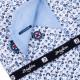 Biela s modrým vzorom pánska košeľa slim fit Brighton 109908