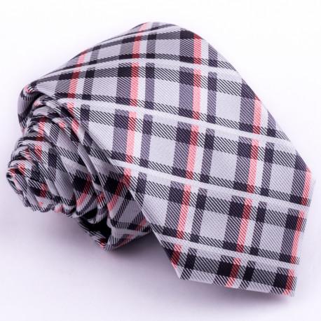Úzka šedá kravata kárované Greg 99050