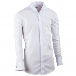 Predĺžená fraková košeľa slim biela Assante 2000ý