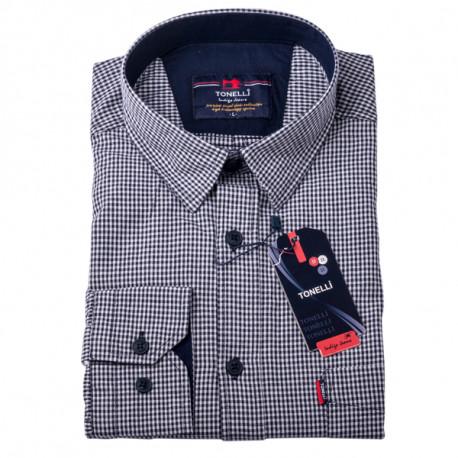 Čiernobiela nadmerná košeľa 100% bavlna Tonelli 110958