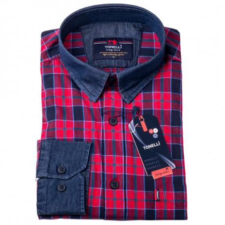 502d4ab42dee Červenomodrá košeľa 100% bavlna Tonelli 110961