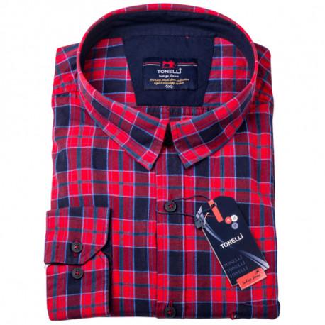 578c11309c64 Červenomodré káro nadmerná košeľa 100% bavlna Tonelli 110962