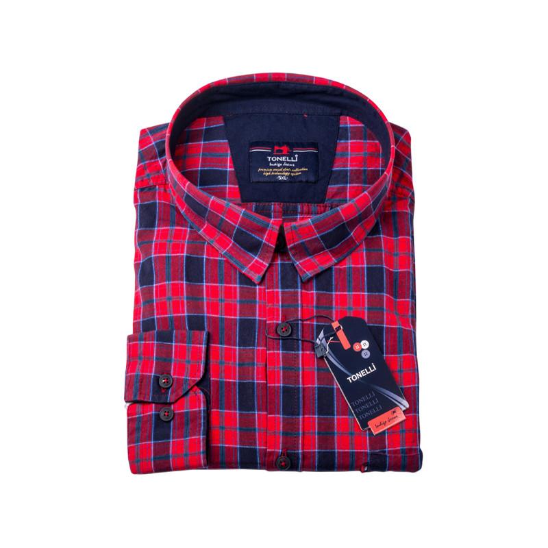 bc799fecade0 Červenomodré káro nadmerná košeľa 100% bavlna Tonelli 110962
