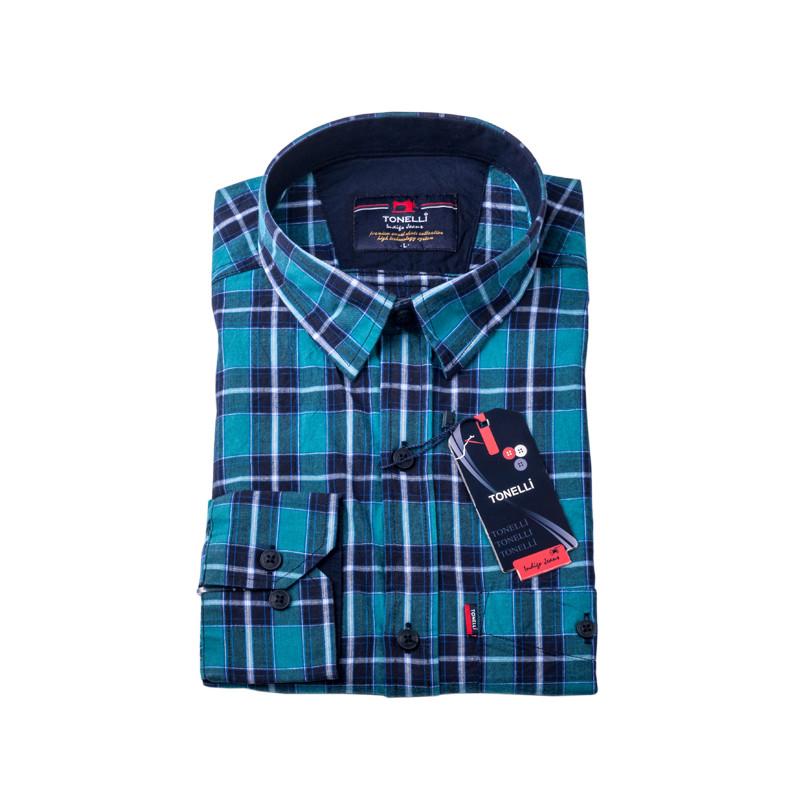 d35b3fa4a732 Modrá košeľa 100% bavlna Tonelli 110964