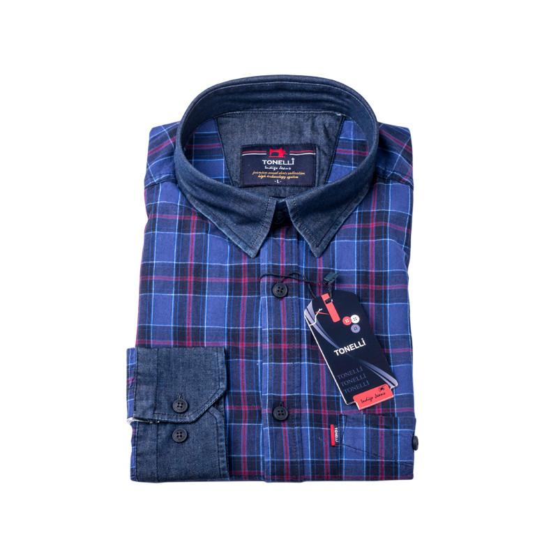 c4c4779f15b0 Modrovínová káro košeľa 100% bavlna Tonelli 110965