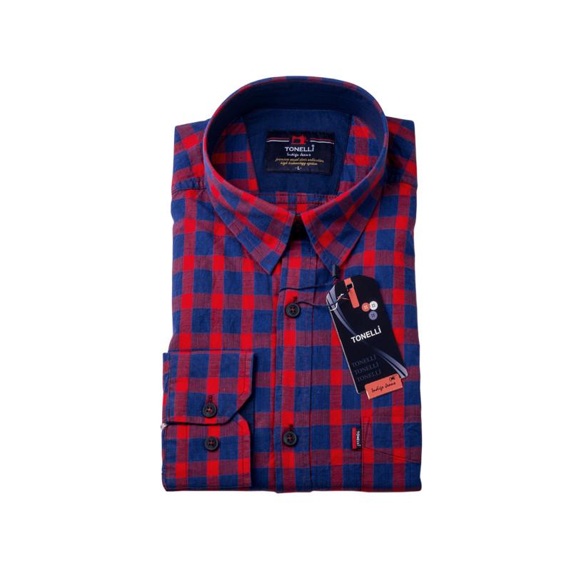f96cd883550b Červenomodrá káro košeľa 100% bavlna Tonelli 110967