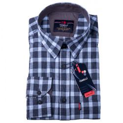 Šedomodrá kocka košeľa 100% bavlna Tonelli 110968