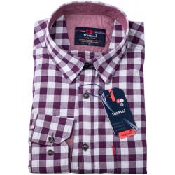 Vínovomodrá kocka košeľa 100% bavlna Tonelli 110959