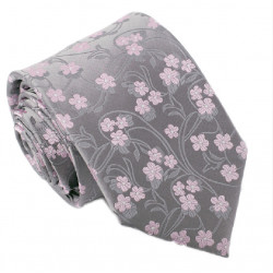 Šedoružová svadobná kravata Greg 91021.