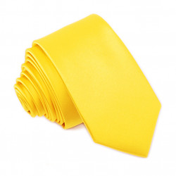 Sýto žltá svadobná kravata slim Greg 99195