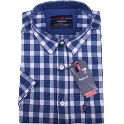 Biela košeľa s modrou kockou košeľaTonelli 110863