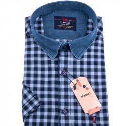Modrá košeľa s tmavo modrou kockou nadmerná košeľaTonelli 110862