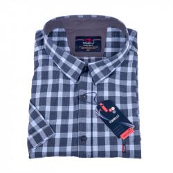 Oceľovo modrá košeľa s šedou Kockou nadmerná košeľaTonelli 110861