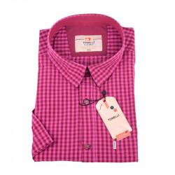 Ružová košeľa s drobnou červenou Kockou košeľaTonelli 110854