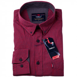Červenomodrá kocka košeľa 100% bavlna Tonelli 110974