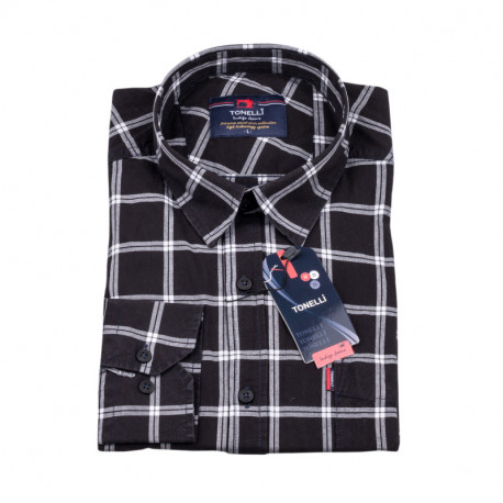 Čierna károvaná košeľa Tonelli 110983