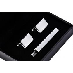 Kravatová spona a manžetové knoflíky barvy stříbrné Assante 90593