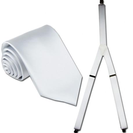 Traky a kravata biela súprava Assante 502