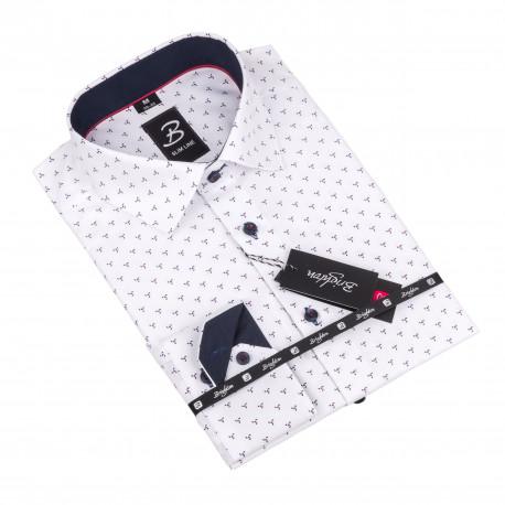 Košeľa Brighton biela s geometrickým vzorom 110098
