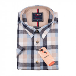Pánska nadmerná košeľa modrošedá krátky rukáv Tonelli 110883