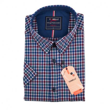 Pánska nadmerná košeľa modrozelenočervená krátky rukáv Tonelli 110885