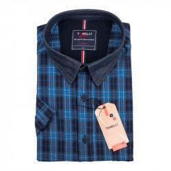 Pánska nadmerná košeľa modrá krátky rukáv Tonelli 110888