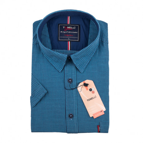 Pánska nadmerná košeľa modrá krátky rukáv Tonelli 110889