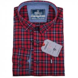 Pánska košeľa červená dlhý rukáv Tonelli 110926
