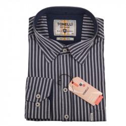 Pánska košeľa šedá dlhý rukáv Tonelli 110930