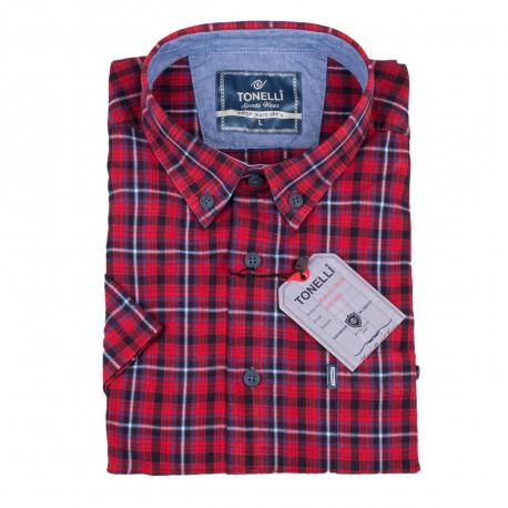 Pánska košeľa červená krátky rukáv Tonelli 110822